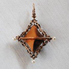 画像2: ゴールド・シルバー・エナメル・パール・ダイヤモンドペンダント (2)
