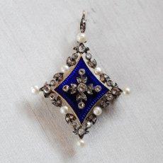 画像1: ゴールド・シルバー・エナメル・パール・ダイヤモンドペンダント (1)