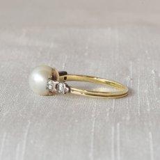 画像2: ゴールド・シルバー・パール ダイヤモンドリング (2)
