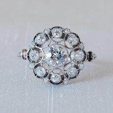 画像1: プラチナ・18ctゴールド・ダイヤモンドリング (1)