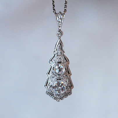 画像1: 14ct・プラチナ・ダイヤモンドペンダント (1)