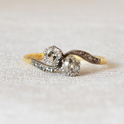画像1: ゴールド・プラチナ・ダイヤモンドリング (1)