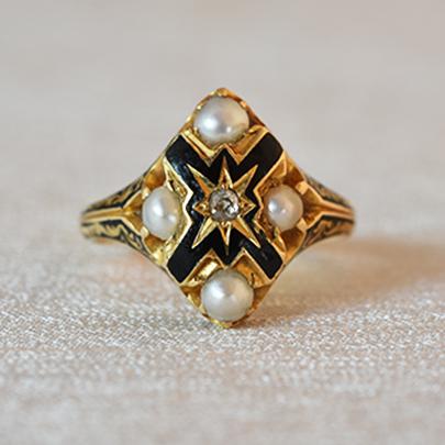 画像1: 18ct.ゴールド・ダイヤモンド・パール・エナメルリング (1)