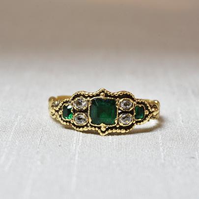 画像1: Gold,エメラルド ダイヤモンドリング (1)