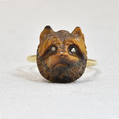 画像1: K18.タイガーズアイ・ダイヤモンドリング (1)